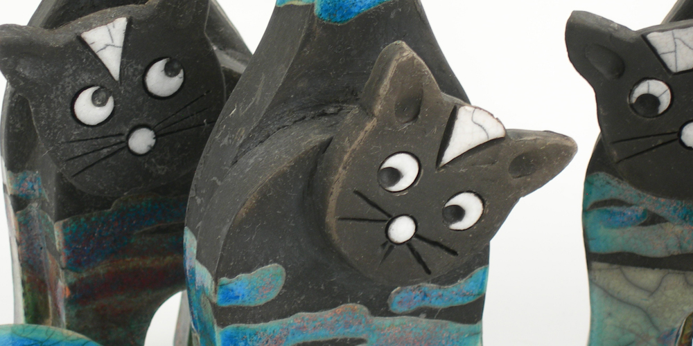 Raku cats and other animals