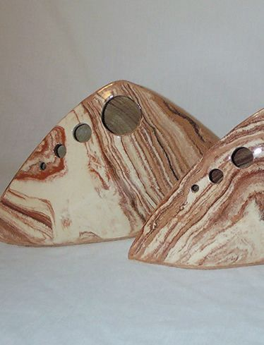 Earthen ware triangle vases, marbled clay with clear glaze